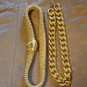 Set of two gold toned fashion necklaces